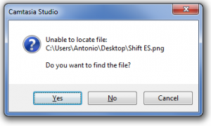 Camtasia sees the bitmap for my Shift Spanish key is missing, and asks me to provide a location. If I provide the location of the French Shift key, that takes care of the translation in the whole project.