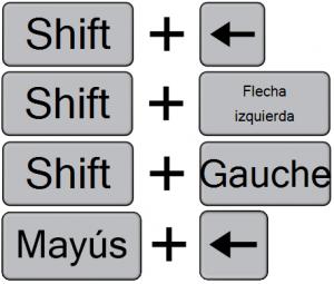 1. Original keystroke 2. Spanish, generated 3. French, generated 4. Spanish, manually created