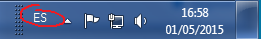 Windows taskbar showing currently selected keyboard layout